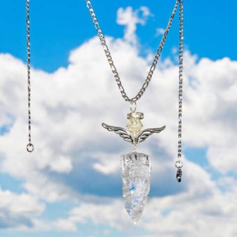 Pendulum Crystal Necklace, Angel Crystal, Quartz Crystals Necklace (4)